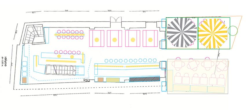 Seating plan, interior & exterior.