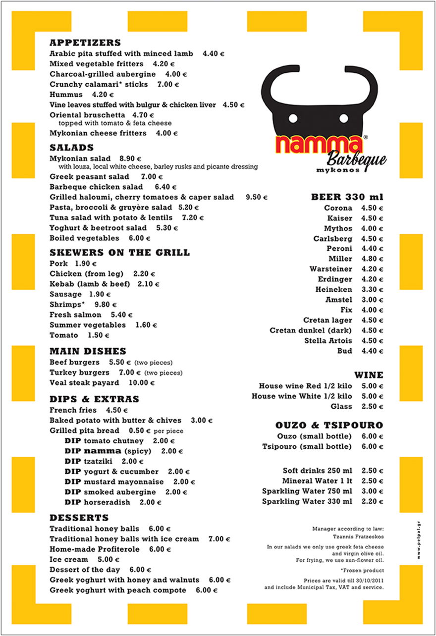 Menu lay-out in english.