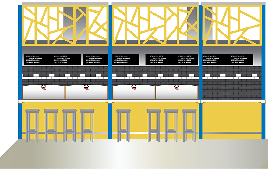 Design proposal for the interior (grill section).