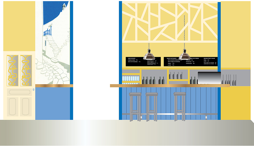 Design proposal for the interior (salad bar section).