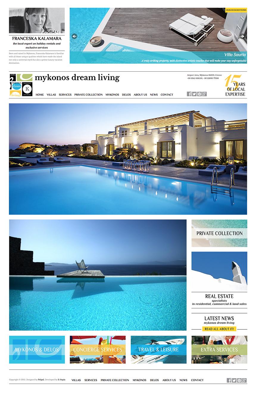 MykonosDreamLiving website design 2015